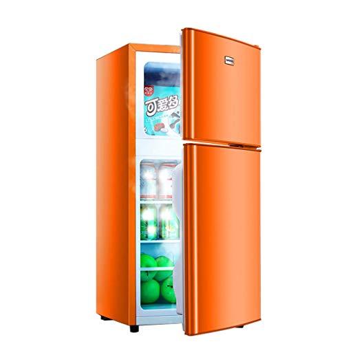Kompakter Doppeltürkühlschrank | 73L Kühlschrank | 35L Gefrierschrank | 108L Gesamtfläche | Temperaturregler | Freistehende verstellbare abnehmbare Glasböden | für Büro, Wohnheim oder Wohnung,Orange