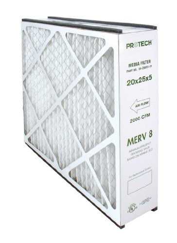 PROTECH 54-25051-01 MERV 8 Media Filter Replacement - 20 in. x 25 in. x 5 in. (Pack of 3)