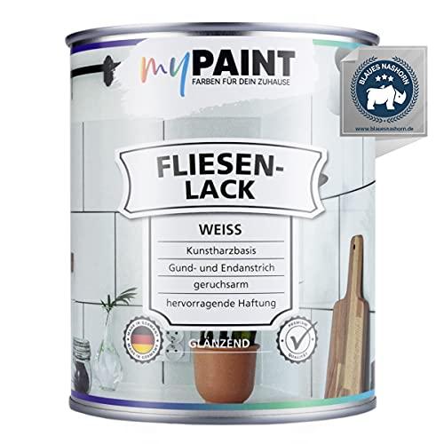 myPAINT® Fliesenlack (750ml, Weiß) glänzender 1K Fliesenlack Weiß strapazierfähig - einfach Fliesen streichen - Made in Germany