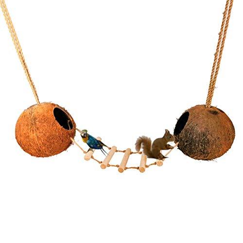 Precauti Loro Ardilla Mascota Casa de Coco Natural Escalera de Madera Natural Aves de cría Nido Registro Escala de Coco Concha de Nido Nido de pájaro Puente Colgante Nido de cría