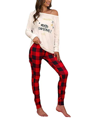 Conjunto de Pantalones de Traje de 2 Piezas de Navidad para Mujer, Elegantes Pantalones de Cintura Alta con Estampado de Letras de Manga Larga y Cuadros (White, M)