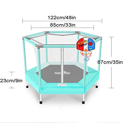 Yshca 48 Bungee trampoline, fitness-trampoline, mini-trampoline, veiligheidsnet, bouncing bed met randbescherming, gordelsysteem voor kinderen
