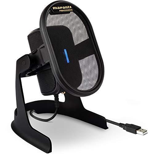 Marantz Professional Umpire - Micrófono USB para PC o Mac, para grabar, emitir pódcasts, streaming y juegos, con soporte de sobremesa, filtro antipop y amortiguador