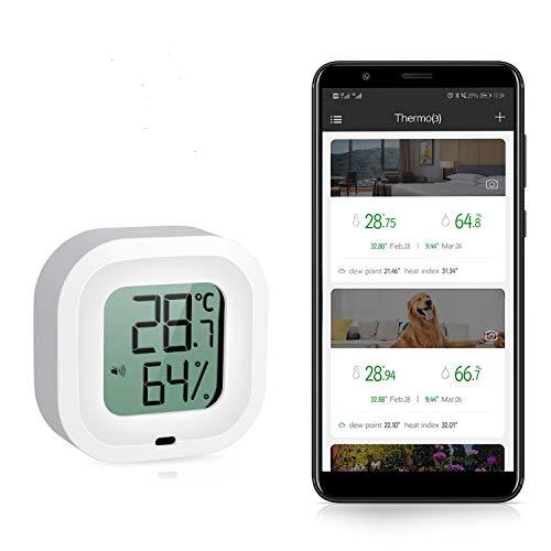 Esolom 2020-Termometro wireless Bluetooth,igrometro,sensore wireless con display schermo,registratore dati esportazione di dati,monitoraggio remoto per temperatura,umidità dell'aria per iOS e Android