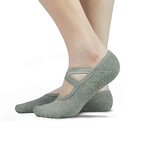 HYCLES Yoga Damen Socken Anti Rutsch - Ballerina Stance Pilates Bars Slipper Socken Damen UK 5-8 / EU 37-41 Bunte Lustige Klebrig Grey*3