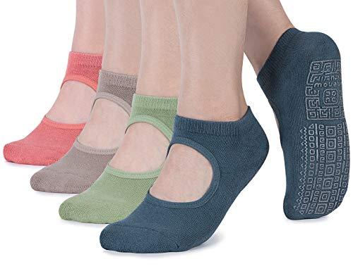 Rutschfeste Yoga-Socken für Damen, mit Kissen für Pilates, Barre, Zuhause, Damen, 4 Paar-blau grau/grün/hellbraun/korallenrot, Einheitsgröße
