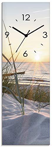 Artland Wanduhr ohne Tickgeräusche aus Glas Quarzuhr 20x60 cm Rechteckig Lautlos Strand Meer Ostsee Sonne Sonnenuntergang Maritim T9QU