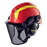 Uvex Pheos Forestry - Forsthelm mit Gehör- und Gesichtsschutz - SNR: 30dB, Farbe:rot