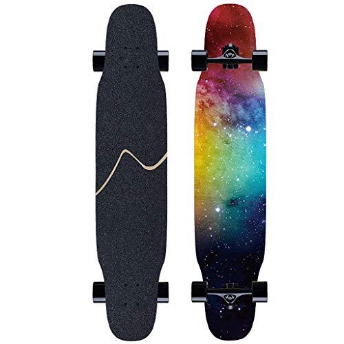 SONGTING Step stool Skateboard Komplett Für Erwachsene Und Anfänger - 46 Zoll Drop Down Longboard Komplett Skateboard Für Downhill Freeride Cruising Carving Skateboard Tool Enthalten