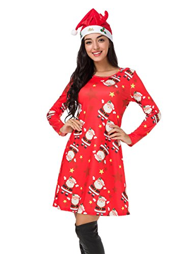 Atnlewhi Christmas Dresses for Women Long Sleeve Pullover Swing Flared Cocktail Party Dresses A Line Xmas Santa Midi Dress