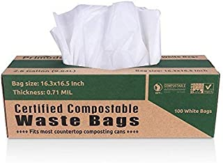 Primode 100% Compostable 2.6 Gallon Food Scraps Yard Waste Bags, 100 Count, Extra Thick 0.71 Mil. Compost Bags ASTMD6400 S...