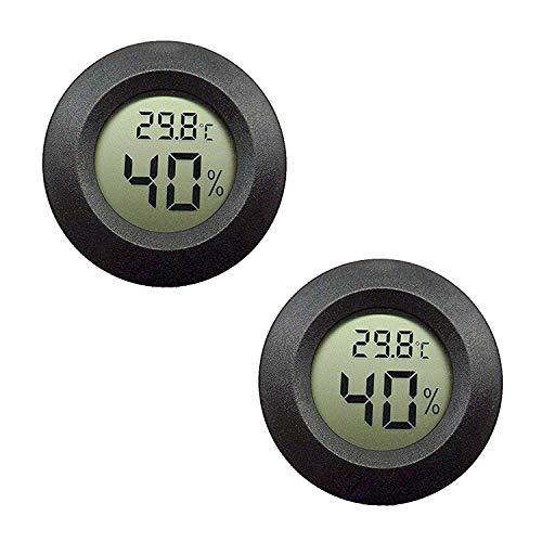 2er-Pack LCD Digital Hygrometer Thermometer, Innen-Außenfeuchtemessgerät Temperaturmesser für Luftbefeuchter Luftentfeuchter Gewächshaus Keller Babyzimmer, schwarz rund