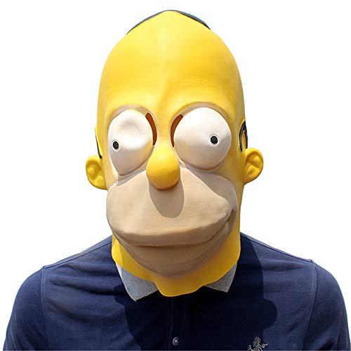 YBBDHD Disfraz Hombre Homer Disfraz Adulto Máscara Simpson Máscara Cabeza Completa Mascarada Máscara Divertida Disfraces De Halloween Accesorios Máscara De Látex