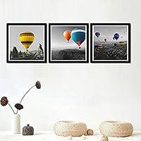 ウォールアートモダンファッションカラフルなバルーン風景キャンバス絵画北欧のポスターとプリント写真リビングルームの家の装飾-60x60cmx3フレームなし