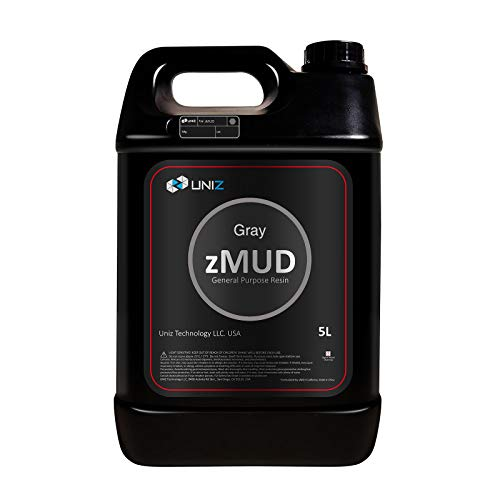 UNIZ zMUD 3D Printer Resin, Rapid UV-Curing Red Wax-Like 405nm Standard Photopolymer High Precision Resin for LCD 3D Printing (Gray 5L)