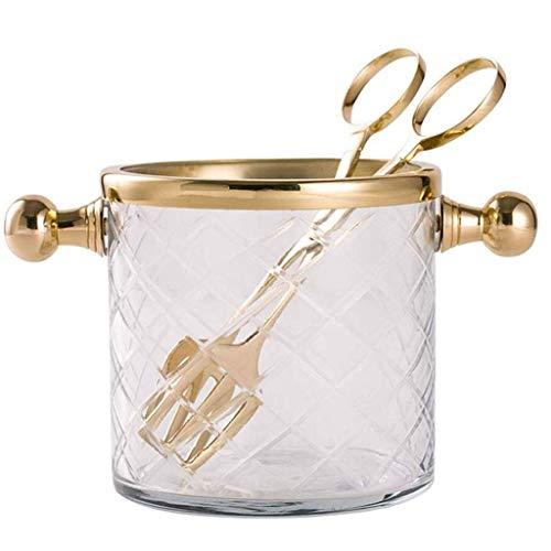 ZSQHD Cubo de Hielo - latón Hecho a Mano de Cristal de Hielo Cubo de Hielo con los Clips de cenar la Tabla Champagne Cubo de Hielo