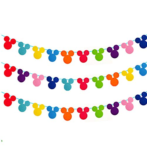 Kinyanco 3 Rows Colorful Mickey Mouse Garland Disney Theme Garland Banner for Birthday Party Decoration, Room Decor, Baby Shower, Classroom Decoration