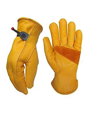 Medium(2 Pair) Leather Work Gloves for Gardening/Cutting/Construction/Motorcycle/Farm, Men & Women, Cowhide Work Gloves
