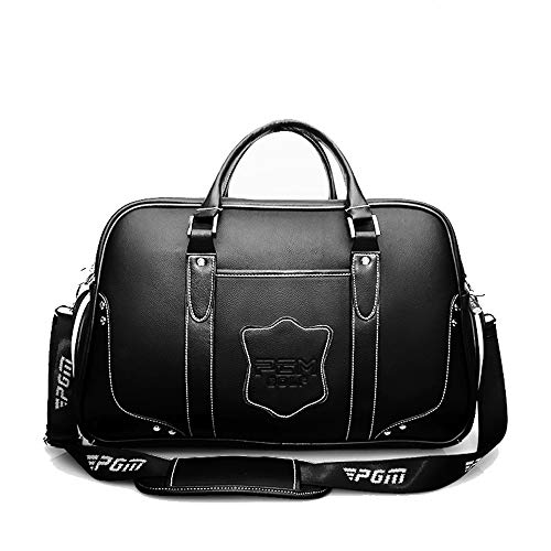 MUIT-G Golf Clothing Bag, Portable Shoe Bag Men's Leather Ball Bag High-End Clothes Bag Mezzanine Zipper Bag, Zipper Pocket for Golf