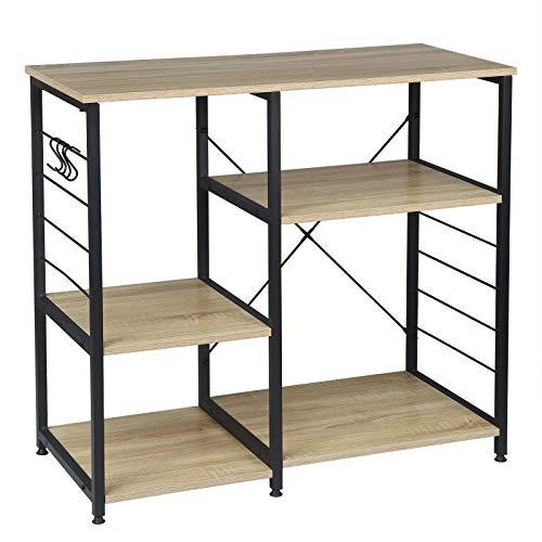 WOLTU RGB9324hei Küchenregal Standregal Mikrowellenhalter Bäcker Regal Metallregal aus Holz und Stahl, mit 5 Ablagen, ca. 90 x 40 x 83,5 cm, Schwarz + Hell Eiche