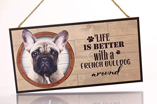 Cartel Decorativo de Madera French Bulldog. Regalo Detalle Original para Amantes de los Animales y Mascotas.Elige la Raza de tu Perro o Gato Preferido y Decora tu casa.Texto Frase en inglés.