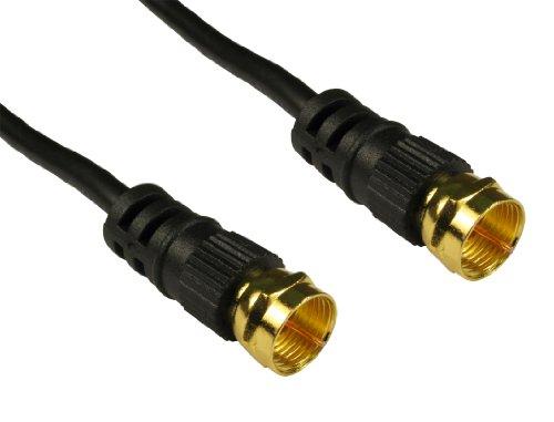World of Data - Cable satelital con Conector F de 20 m - Color Negro - Chapado en Oro de 24 k - 75 ohmios - Coaxial - Antena - Plomo
