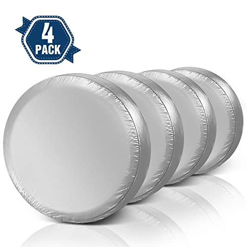 """Tire Covers for RV Wheel ELUTO Set of 4 Motorhome Wheel Covers Waterproof Oxford Cotton Tire Protectors Tire Covers Fits 27"""" to 29"""" Tire Diameters"""