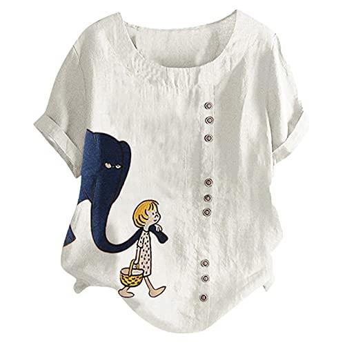 Blusa De Lino De AlgodóN 5XL para Mujer Camisa De Manga Corta con Estampado De Elefante De Verano Elegante Jersey De BotóN con Cuello Redondo De Gran TamañO Femenino