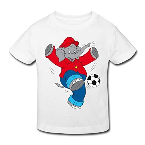 Spreadshirt Benjamin Blümchen Spielt Mit Fußball Kinder Bio-T-Shirt, 98-104, Weiß