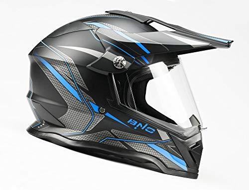 BNO Cross-3 Helm, Motocrosshelm, Corsshelm, S, M, L, XL (L, Matt-Schwarz-Blau)