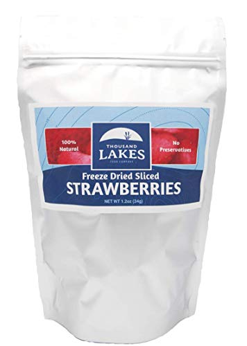 Thousand Lakes Freeze Dried Fruits and Vegetables - Strawberries 1.2 ounces | No Sugar Added | 100% Sliced Strawberries