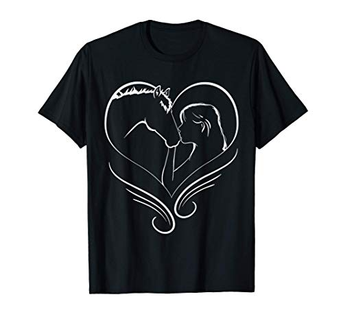 Chica besando a un caballo Corazón Silueta de jinete Camiseta