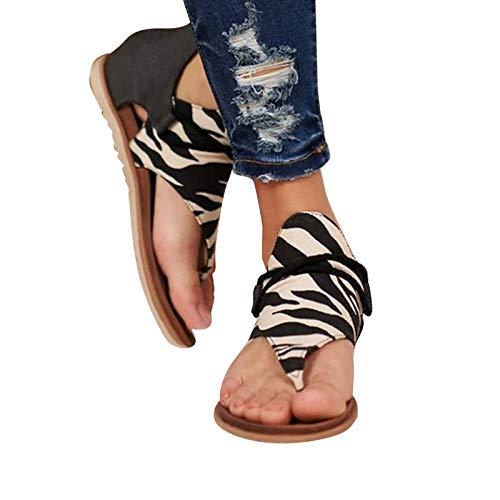 KFEK Sandales d'été rétro 2021 pour femme, style gladiateur rétro bohémien à franges, bout plat, bottines, chaussures de plage, sandales romaines à bout ouvert (E41)