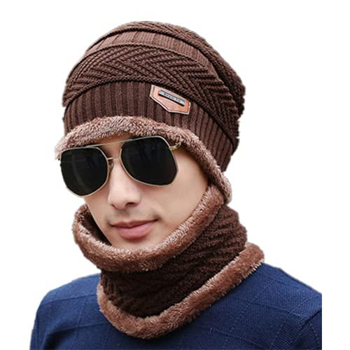 MOMILA 2 piezas de gorro con calentador de cuello para hombres, bufanda de calavera, sombrero de puño holgado de doble capa interior de forro polar (marrón)