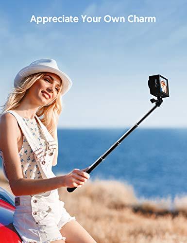 Victure Action Kamera Ausziehbarer Selfie Stick Aluminium Wasserdichter Handgriff für Go Pro, Apeman, Sports Kamera - Schwarz