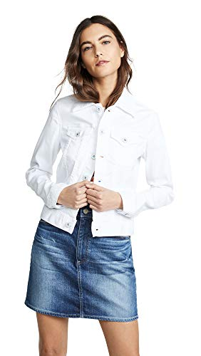 AG Adriano Goldschmied Women's Robyn Fitted Stretch Denim Jacket, True White, Small