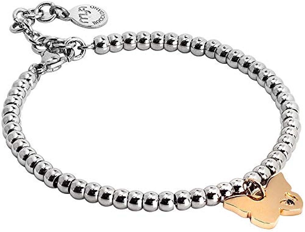 Bracciale per donna boccadamo,in acciaio 316 l, con sfere e charm farfalla con placcatura in oro PI/BR71