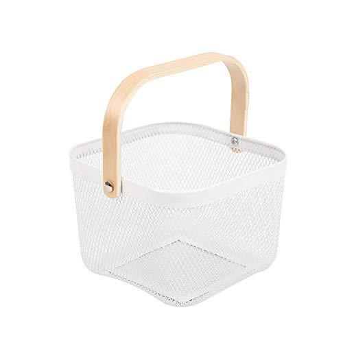 JHY DESIGN バスケット 持ち手付き木柄 幅26×奥行25×高さ18cm 積み重ね ワイヤーバスケット ホワイト 小物入れ 収納ケース キッチンストレージ バスルーム (ホワイト)