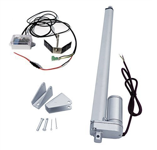 DCHOUSE Single Axis Solar Tracker Kit: 12 Volt 18 Zoll Hub Linearantrieb & Track Controller mit Lichtsensor