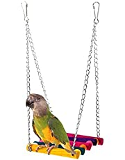 ANTOLE Parrot Bird Stand Color Suspension Bridge Swing Toys Climbing Birdcage Accessories for Small
