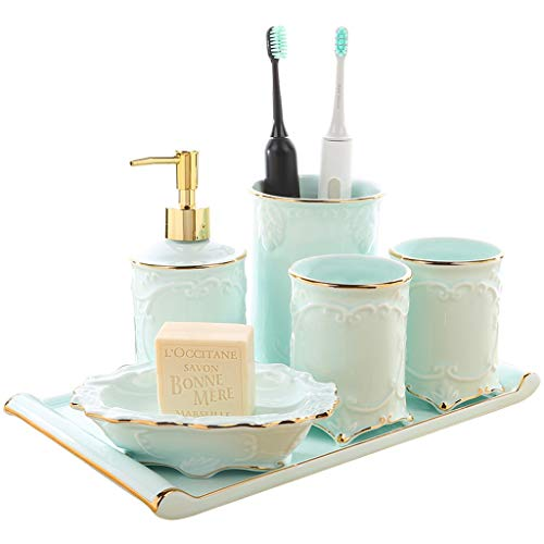DUOER home New Chinese Ceramic Bathroom Accessories Set - 6 pcs Gift Set Hand Painted Phnom Penh Elegant Relief Bathroom Supplies (Color : Blue)