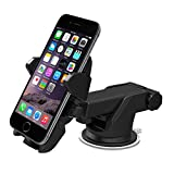 Universal Car Mount Holder, Windshield Dashboard Long Neck One Touch Car Mobile Phone Holder Compatible for iPhone X 8 7 7s 6s Plus 6s 5s 5c Samsung Galaxy S8 Edge S7 S6 Note5 Sucker Car Stand (Black)