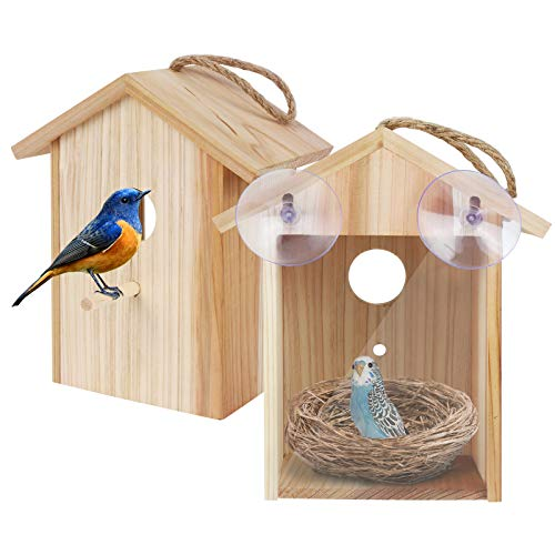 ColorfulLaVie Window Bird House with Strong Suction Cup and Lanyard for Outside - See Through Upgraded Wooden Birdhouse Outdoors,Bird Nest Single-Sided Design for Easy Observation,Best Gift for Kids