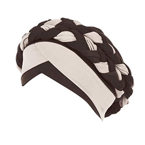 Auiyut Damen Muslimischer Hut Sommer Turban Kopfbedeckung Wrap Schal Mützen Frontal Cross Mütze Chemo Caps Krebs Cap Kopftuch Hijab