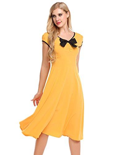 ACEVOG Damen Retro Vintage Kleid V Ausschnitt Kurzarm Sommerkleid Midi Kleider Partykleider...