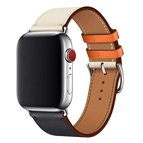 BesBand Watch Band Compatible with Apple Watch 42mm 44mm,Genuine Leather Replacement Strap for iWatch Series 5/4/3/2/1 (Dark Blue/Ivory White/Silver, 42mm 44mm)