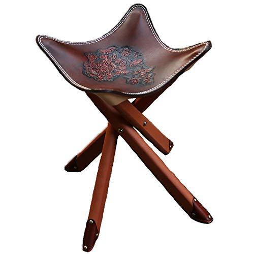 CAGYMJ Draagbare Kruk Vouwstoelen, Massief Hout Plantaardige Gebruinde Koeienhuid Lichtgewicht Opvouwbare Stoel Zit Kruk, voor Reizen En Outdoor Activiteiten