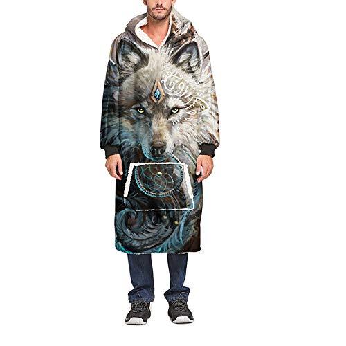 Meiju 3D Kapuzenpullover Decke mit Kapuze, Warme Weiche Unisex Riesen Übergroße Hoodie Sweatshirt Tragbare Decke Hoodie Fronttasche Ultra Plüsch Pullover (Eine Größe(110cm/43in),Wolfskönig)