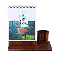 Toyvian 2020テーブルカレンダー木製カレンダーペンカップホルダーデスクフリップスケジュールカレンダー装飾カレンダーセンターピース用ホームオフィス学校ストア