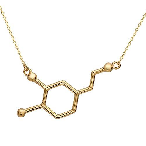 Dopamin Molekül Anhänger Halskette aus 925 Sterling Silber by Serebra Jewelry (Gold-Überzug)